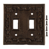 Rust Cast Iron Double Switch Plate